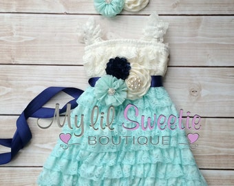 Ivory, navy, light mint spa aqua 3 piece set, dress, sash, headband, baby girl outfit, special occasion dress, toddler dress, girls dress,