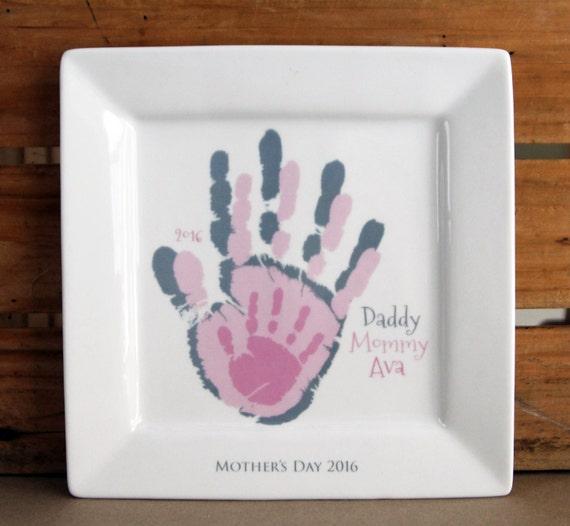 Family layered handprint ceramic keepsake plates and for Handprint ceramic plate ideas