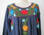Embroidered Mexican Dress Long Sleeve Cotton Tunic In Blue, Boho Dress, Bohemian Style
