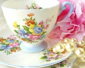Vintage Teacup/ SHELLEY/Vintage Bone China Trio/ Tea Cup, Saucer and small Plate/Blue Banded Floral