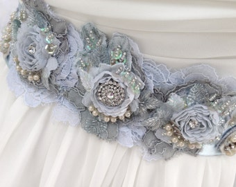Beaded Lace Bridal Sash, Wedding Sash In Soft Bridal Blue With Crystals And Pearls, Wedding Dress Sash, Flower Sash, Bridal Belt
