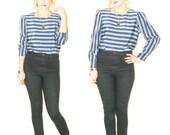 Stripe shirt . Grey and Blue . Blue Blouse . stripe blouse . 80s blouse . 90s blouse . grunge . business woman blouse . secretary .