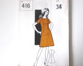 Vintage 1960′s Sewing Pattern - 1960s Dress Pattern -  Bust 34″ - Vintage Dress Pattern - Shift Dress Pattern - Mod Dress Pattern