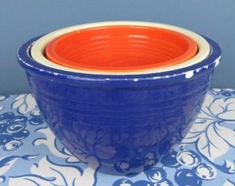 Vintage Fiesta Nesting Bowls, Red White Blue, #2, #3, #4