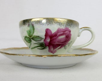 Vintage Tea Cup and Saucer, China, Lustre Glaze, Gold Rim, Roses