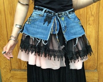 Lace and Denim Festival Wrap Skirt