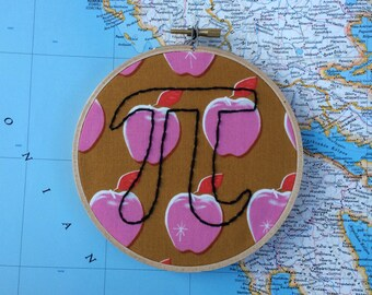apple pi, nerd humour, nerd humor, geekery, math joke, puns, punny, funny embroidery, math embroidery, wall decor, living room decor, 3.14