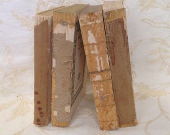 Antique raw bare book bundle uncovered stack shabby romantic cottage chic rustic farmhouse bookshelf shelf library mantel home decor