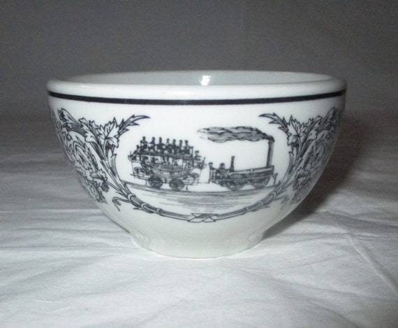 "Shenango Restaurantware 3.75"" x 2.25"" Mini Sugar Bowl, Black Band, Steam Trains (Railroadiana), c. 1972"