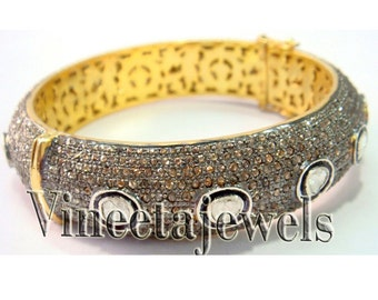 92.50% Sterling Silver 13.53Ctw Rose Cut Diamond Vintage Inspired Cuff Antique Bracelet
