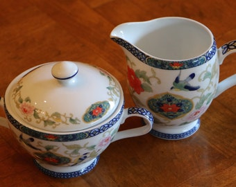 "Royal Traditions ""Ming Dynasty"" Floral and Bird Pattern China Cream and Sugar Set, Creamer, Sugar Bowl With Lid"