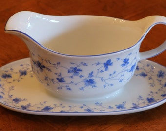 "Arzberg Bavarian China ""Blue Floral"" Pattern Blue and White Gravy Boat With Attached Under Plate"