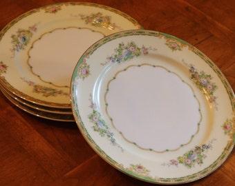"Meito China (Japan) Hand-Painted Vintage China ""Calais"" Pattern Set of Four Salad Plates"