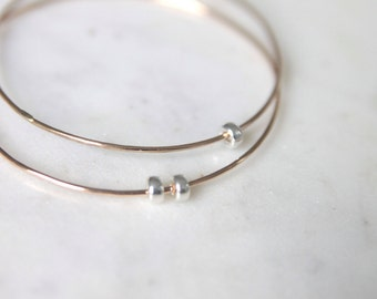 GOLD BANGLE fine solid gold bracelet with sterling silver spinner beads