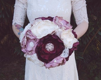 Cranberry fabric bouquet, vintage fabric bouquet, bride bouquet, brooch bouquet