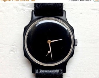 "Soviet watch ,minimal watch , minimalist watch, Mens watch, Mechanical watch, black watch , classic watch, USSR watch ""Pobeda"""