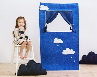 """SALE!!! Waldorf style, wool felt doorway puppet theater """"Summer rain"""" Puppet show stage/ Pretend play/ Kids party decorations/ Felt puppets"""
