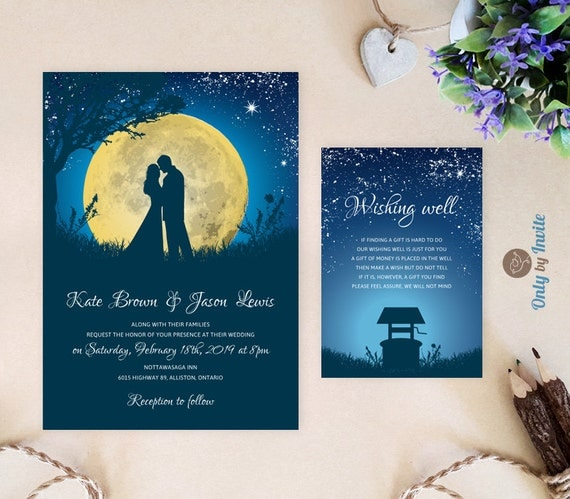 starry night wedding invitations and wishing well card moon, Wedding invitations