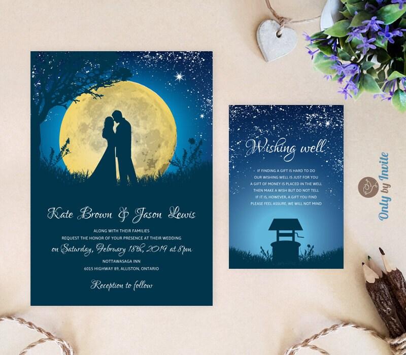 starry night wedding invitations and wishing well card moon