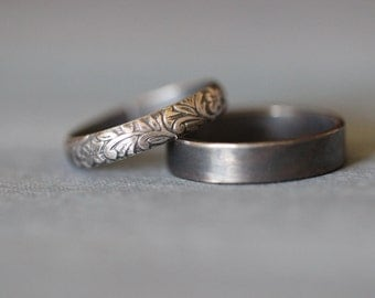 SOPHIE:  Wedding Rings, Set, Wedding Bands, Sterling Silver, Botanical, Leaves, Vines, His and Hers, Rustic, Bohemian,  Made To Order