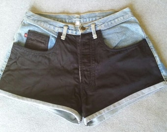 """Vintage """"Two-Tone"""" Cut Off Booty Shorts - 80's / 90's"""