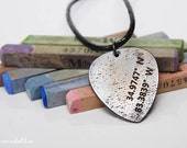 """GPS coordinates- guitar pick necklace  -guitar gifts for music lovers or rockstars - large - """"Classy Pick"""" brand"""