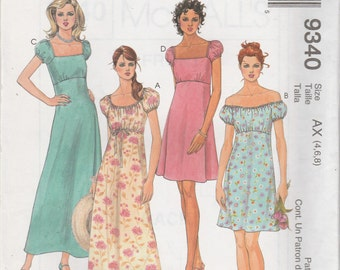 McCall's 9340 Size 4-6-8 Misses' Dress in Two Lengths Sewing Pattern 1998 UnCut