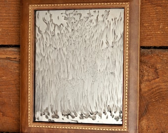 Antiqued Silver Mirror, Leather Framed Distressed Silver Mirror