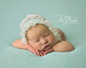 Backdrop Photography Prop-Newborn Photography Backdrop Fabric-Baby Posing Fabric-Newborn Beanbag Fabric Photo Prop-Sea Foam Color