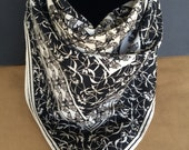 Vintage Black and white floral banded moth-like insect print scarf