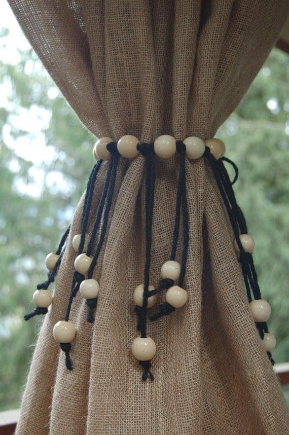 Curtain tie back jute rope with jumbo wooden beads small - Telas para cortinas modernas ...