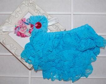 Lace Bloomers, Ruffled Diaper Cover, Elastic Infant Headband