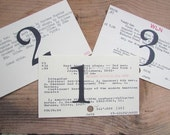 Table Number Library Cards Vintage Card Catalog Wedding Decor