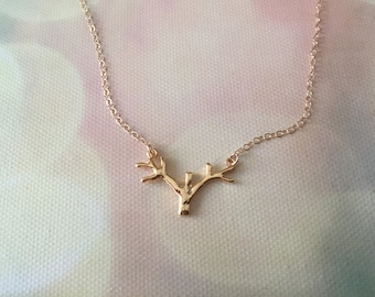 14k Gold Antler Necklace, Tree Branch Antler Necklace, Dainty Antler Layering Necklace