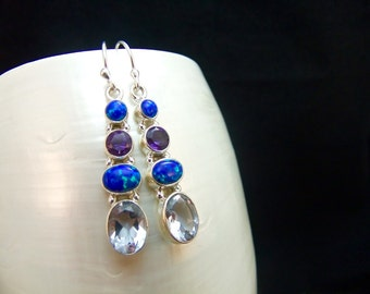 Alexandrite, Amethyst & Opal Sterling Silver Drop Earrings