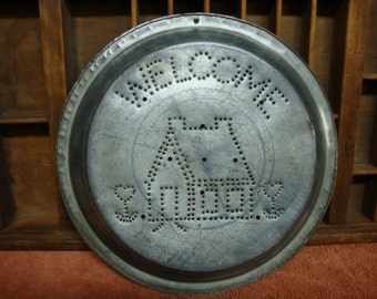 Primitive Punched Tin Pie Pan