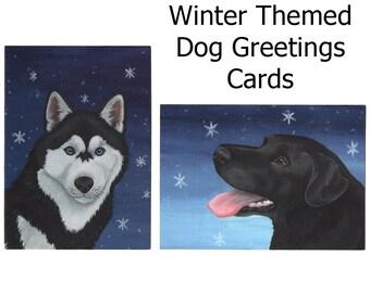 Labrador and Husky Festive Winter Greetings Cards