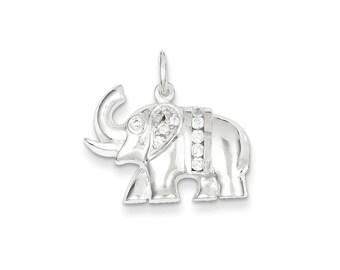 CZ Elephant Charm Sterling Silver pendant .925