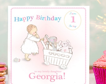 Little Girl's First Birthday Card- Personalised first birthday card- 1st birthday-  First birthday- Children's birthday card- First birthday