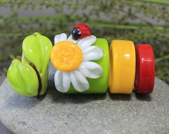 Regaliz Beads, 4 Handmade Lampwork Big Hole Beads fits, Regaliz Bracelet Beads, Regaliz Lampwork Beads, Lampwork Regaliz, Regaliz beads