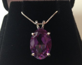Gorgeous 7ct Oval Cut Alexandrite Sterling Silver Solitaire Pendant Necklace Color Change Alexandrite Necklace large June Birthstone Gif