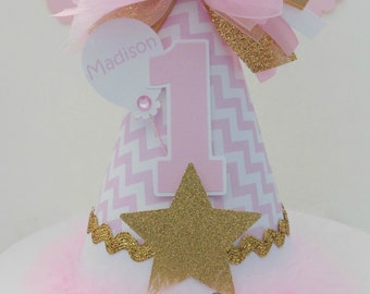 Twinkle Twinkle Little Star Party Hat -Glitter Gold, Pink and White - Chevron - Birthday Party Hat - Personalized