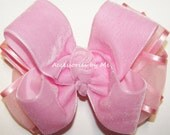 Light Pink Hair Bow Velvet Organza Satin Ribbon Baby Girls Toddler Accessories Christmas Wedding Party Pageant Recital 1st Birthday Occasion