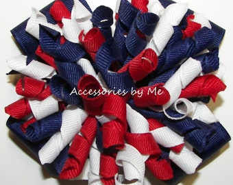 Korker Bow, Red White Blue Patriotic Bow, Korker Ribbon Cheer Bow, Baby Girls 4 Inch Bows, US Patriots Spirit Cheerleader, Dance Team Bows