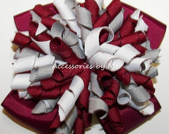 Korker Hair Bow Wine Maroon Gray White Grosgrain Ribbon Ponytail Holder Girls Accessory School Spirit Cheer Football Softball Volleyball