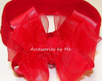 Baby Headband, Red Bow Band, Sheer Organza Satin Red Bow Nylon Headbands, Girls Infant Newborn Minnie Mouse Snow White Halloween Costume Bow