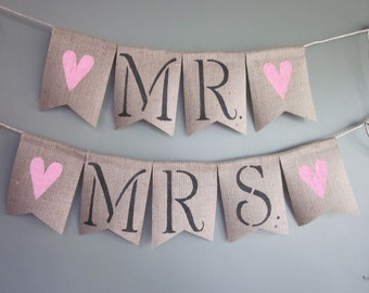 Mr. & Mrs. Banner - MR and MRS Chair Bunting - Large Rustic Chic Mr and Mrs Chair Garland - Mr Mrs Wedding Chair Decor - Chair Photo Prop