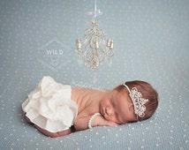 Silver chandelier, mini chandelier, tiara headband and bracelet, baby tiara headband, crown headband, pearl baby bracelet