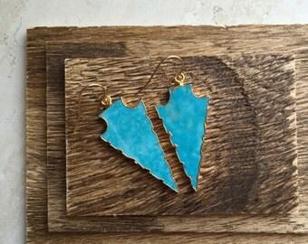 Turquoise Earrings,Arrowhead Earrings,Turquoise Arrowhead Earrings Gold,Arrow Jewelry,Gold Arrowhead Earrings,Tribal Jewelry,Turquoise Gold