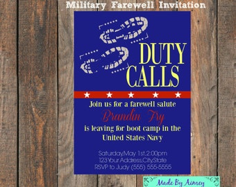 Military Farewell Going Away Party // Boot Camp or Deployment //Invitation